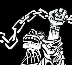 En este dibujo de Rocambole se ve que todavia las cadenas son muchas, con diverso encadenado impune que encadena y amenaza--del libro  Dibujos En La Jungla