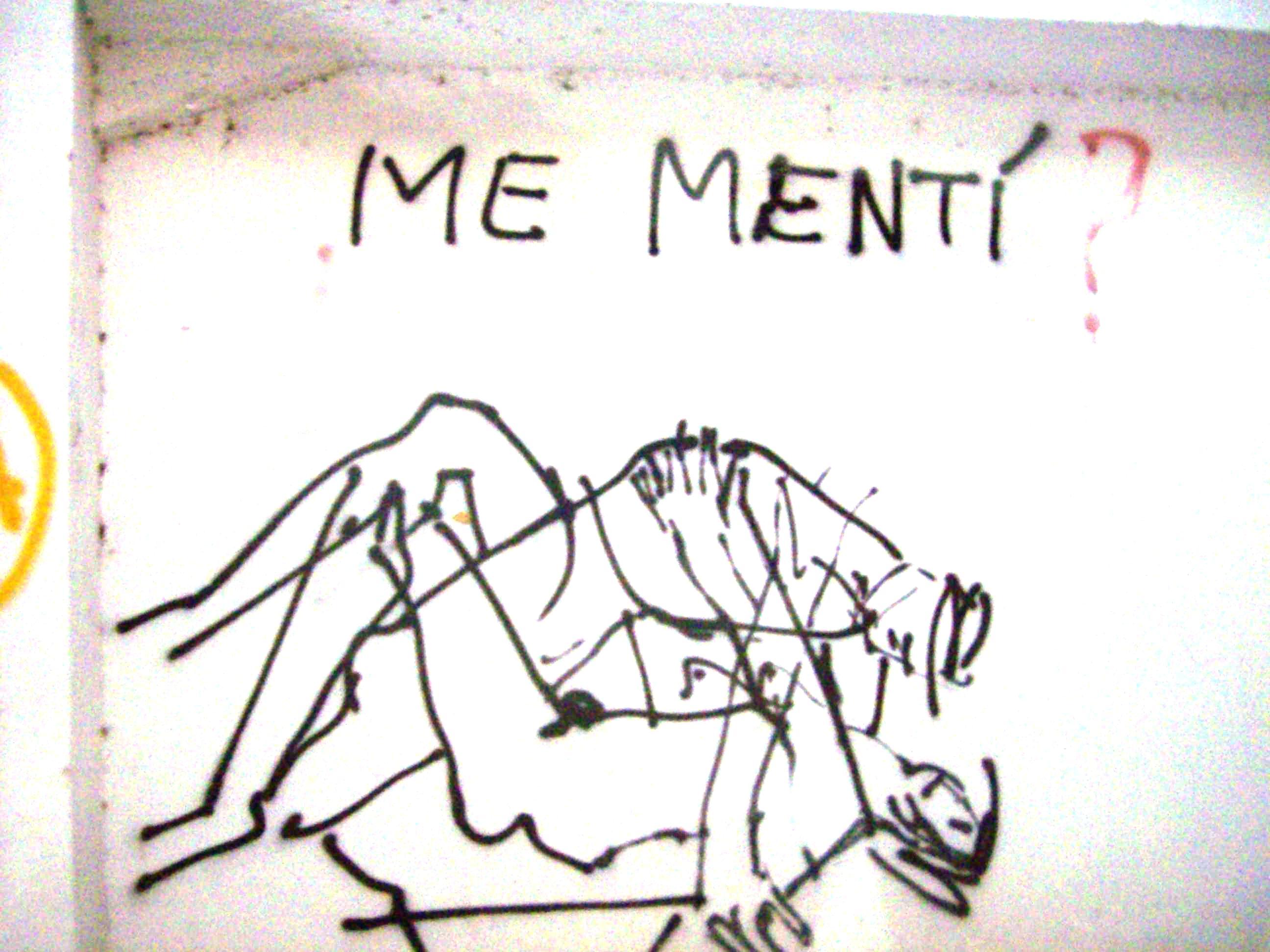 dibujo en una pared de la facultad de filosofia y letras hace unos